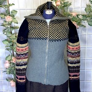REFERENCE POINT GRAY CABLE FAIR ISLE CARDIGAN SZ 8